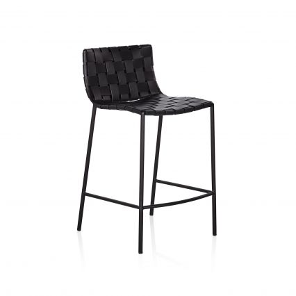 Milano Woven Leather Low Back Barstool